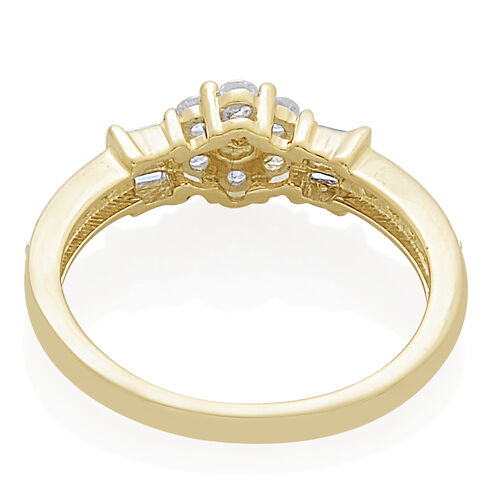 9K Yellow Gold SGL Certified Diamond (Rnd and Bgt) (I3/G-H) Floral Ring 0.500 Ct.