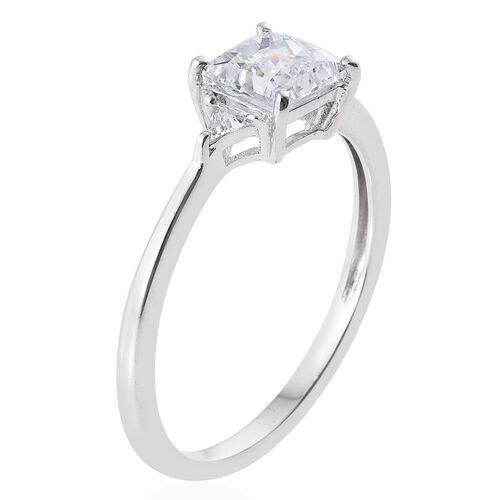 J Francis - 9K W Gold (Princess) Ring Made with SWAROVSKI ZIRCONIA