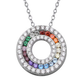 ELANZA Rainbow Simulated Diamond (Rnd) 3 Row Circle Pendant with Chain (Size 18) in Rhodium Overlay Sterling Silver