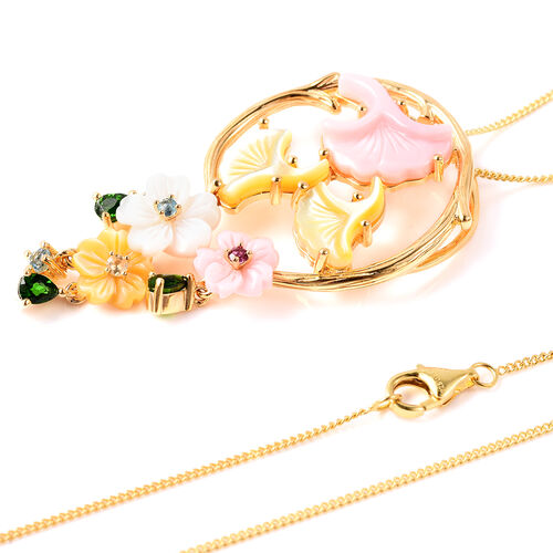 Jardin Collection - Pink Mother of Pearl, Yellow Mother of Pearl and Multi Gemstone Floral Pendant with Chain (Size 18) in Yellow Gold Overlay Sterling Silver, Silver wt 6.06 Gms