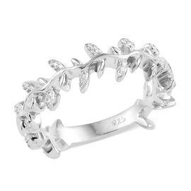 Platinum Overlay Sterling Silver Oak Leaf Ring, Silver wt 3.04 Gms