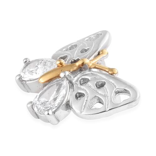 J Francis - Platinum and Yellow Gold Overlay Sterling Silver (Pear) Butterfly Pendant Made with SWAROVSKI ZIRCONIA