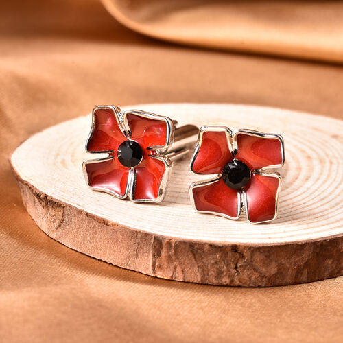 TJC Poppy Design - Black Austrian Crystal Enamelled Poppy Cufflink in Silver Tone