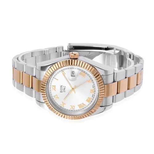 EON 1962 Swiss Movement Sapphire Glass 3ATM Water Resistant Watch in Yellow Gold Tone with Stainless Steel