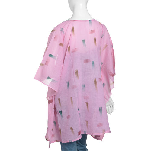 One Time Mega Deal-100% Cotton Pink and Multi Colour Kaftan (Size 85x70 Cm)