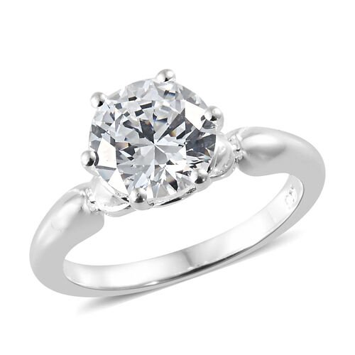 J Francis - Sterling Silver (Rnd 8 mm) Solitaire Ring Made With SWAROVSKI ZIRCONIA