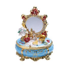 Multi Austrian Crystal Studded Enamelled Mirror Trinket Box