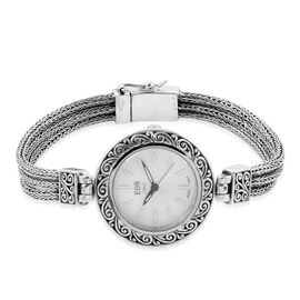 Royal Bali Collection- EON 1962 Swiss Movement 3ATM Water Resistant Watch (Size 7.5) with MOP Dial  in Rhodium Plated Sterling Silver, Silver wt. 21.00 Gms