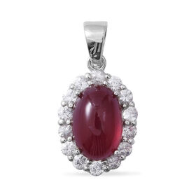 13.70 Ct African Ruby and Zircon Halo Pendant in Rhodium Plated Silver