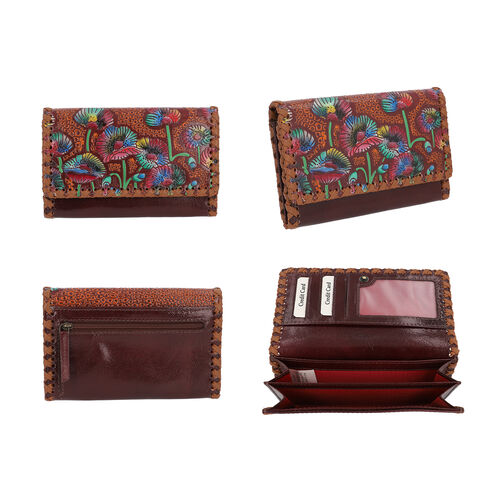 SUKRITI 100% Genuine Leather RFID Protected Floral Wallet (Size 10.5x17x2.5cm) - Burgundy