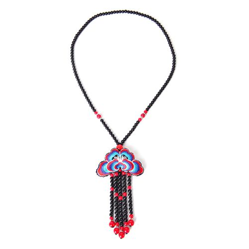 Shanghai Collection-Hand Crafted Multi Colour Floral Embroidered Necklace (Size 28) with Red and Black Colour Beads