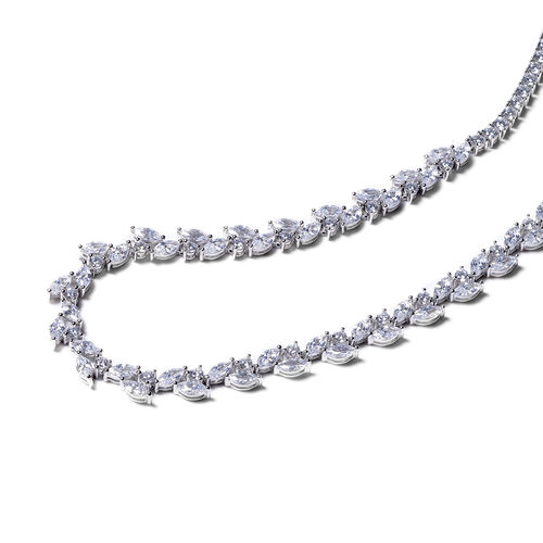 ELANZA Signature Collection-  Simulated Diamond Necklace (Size 18) in Rhodium Overlay Sterling Silver 22.92 Ct, Silver wt 22.72 Gms