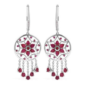 Super Auction - LucyQ African Ruby (Pear), Natural White Cambodian Zircon Dream Catcher Lever Back Earrings in Rhodium Overlay Sterling Silver 5.570 Ct, Silver wt 9.93 Gms