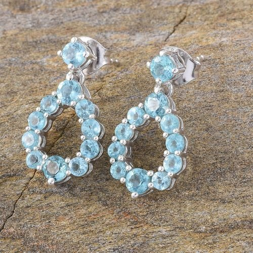 Paraiba Apatite (Rnd) Earrings (with Push Back) in Platinum Overlay Sterling Silver 2.250 Ct.