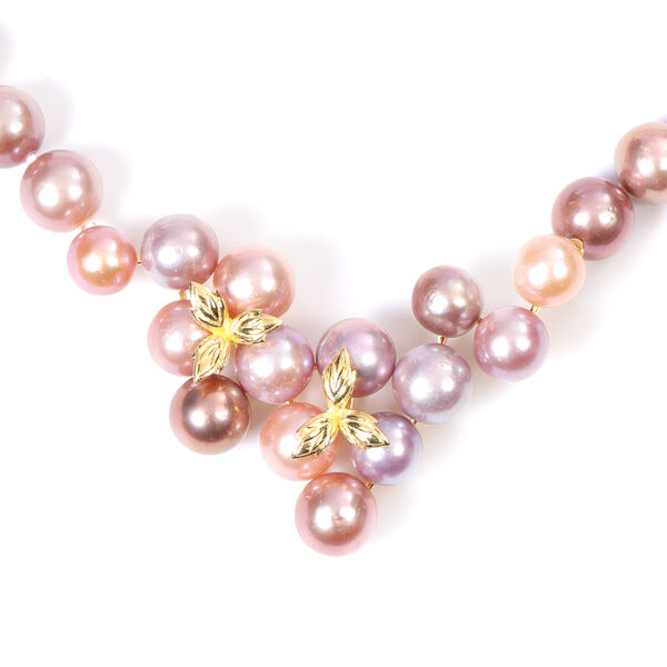 Multi Colour Edison Pearl Necklace (Size 20 with Magnetic Lock) in Yellow Gold Overlay Sterling Silver, Silver wt. 6.50 Gms