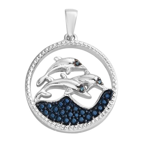 One Time Deal - Blue Diamond (Rnd) Beach Theme Pendant in Platinum Overlay with Blue Plating Sterling Silver