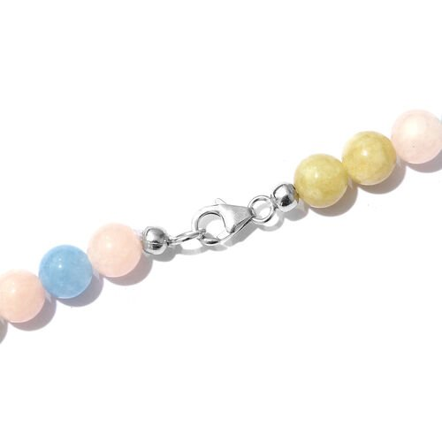 One Time Deal- Multi Aquamarine Ball Necklace (Size 20) with Lobster Lock in Platinum Overlay Sterling Silver 188.000 Ct