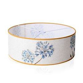Linen Look Floral Printed Lamp Shade with Gold Rim (50 cm Diameter) Blue Flower