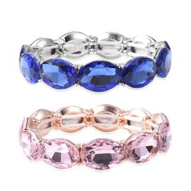 Set of 2 - Simulated Pink and Blue Sapphire (Ovl) Bracelet (Size 6.25 Stretchable) in Silver and Ros