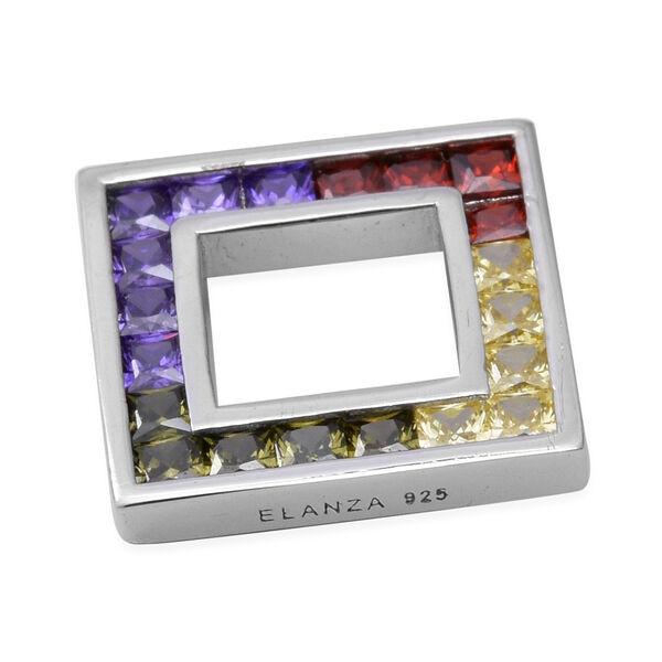 ELANZA Simulated Rainow Sapphire Pendant in Rhodium Overlay Sterling Silver 3.00 Ct.
