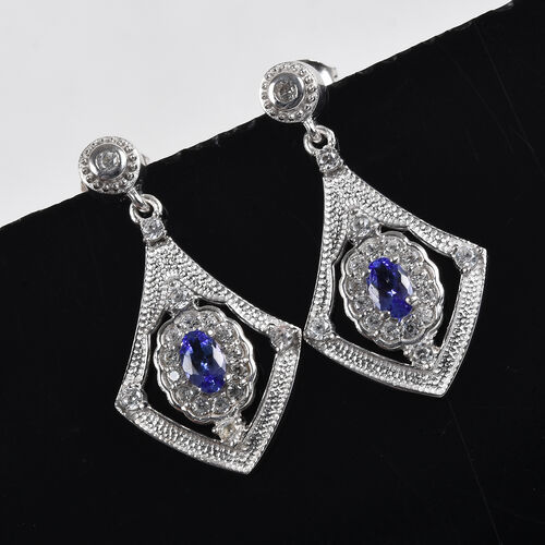 AAA Tanzanite and Natural Cambodian Zircon Dangling Earrings (with Push Back) in Platinum Overlay Sterling Silver 1.25 Ct.