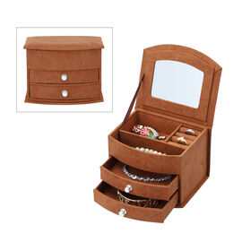 3 layer Fan-shape velvet jewelry box with mirror and 2 removable drawers