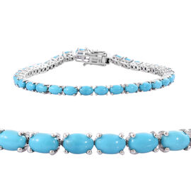 12 Carat Sleeping Beauty Turquoise Tennis Bracelet in Sterling Silver 10.16 Grams 8 Inch