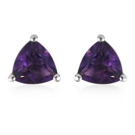 Amethyst Solitaire Earrings (with Push Back) in Platinum Overlay Sterling Silver 1.37 Ct.
