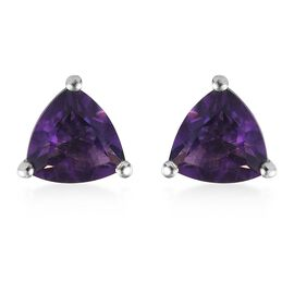 Amethyst Stud Earrings (with Push Back) in Platinum Overlay Sterling Silver 1.37 Ct.