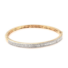 Limited Edition- Designer Inspired-Diamond (Rnd and Bgt) Bangle (Size 7.5) in 14K Gold Overlay Sterling Silver 1.500 Ct, Silver wt 14.90 Gms, Number Of Diamond 216