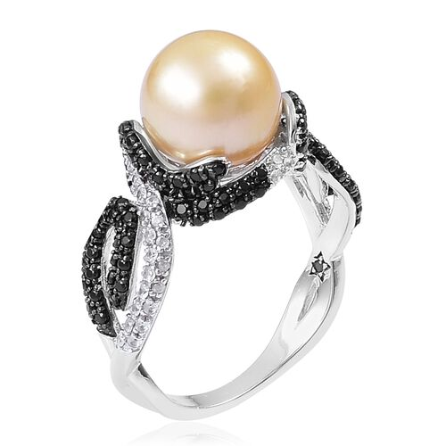 GP South Sea Golden Pearl (Rnd 10-11 mm), Madagascar Blue Sapphire, Boi Ploi Black Spinel and Natural White Cambodian Zircon Ring in Black Rhodium Plated Sterling Silver Number of Gemstone 152