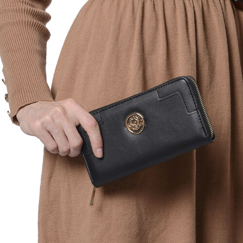 Solid Black RFID Clutch Wallet (Size 19.5x3x9.5cm) with Zipper Closure in Gold Tone