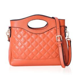 Close Out Deal - Super Soft 100% Genuine Leather Orange Colour Checker Embossed Pattern Handbag with