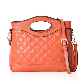 Super Soft 100% Genuine Leather Orange Colour Checker Embossed Pattern Handbag with Removable Should