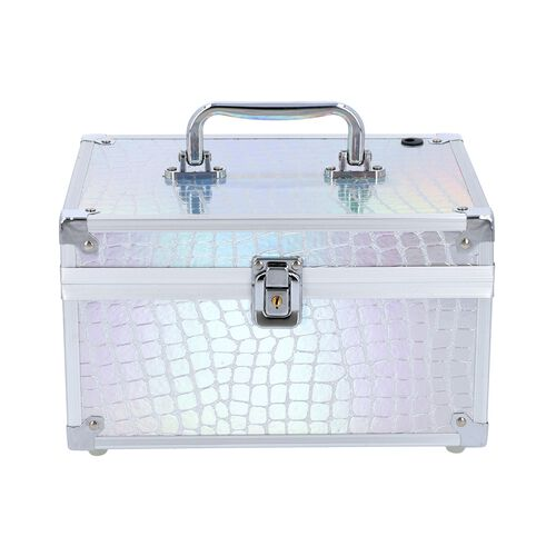 2 Layer Crocodile Skin Pattern Jewellery and Cosmetic Organiser with Touch LED Light Makeup Mirror (Size 24.5x17.5x14.5 Cm) - Silver