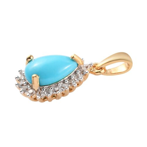 Arizona Sleeping Beauty Turquoise and Natural Cambodian Zircon Pendant in 14K Gold Overlay Sterling Silver 1.53 Ct.