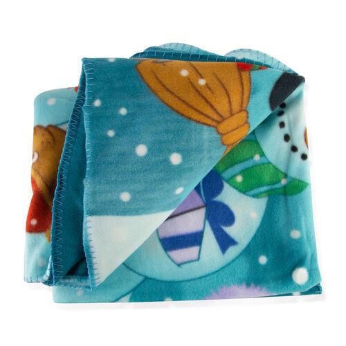 Super Soft Santa Print Pattern Fleece Blanket (130x170 Cm)