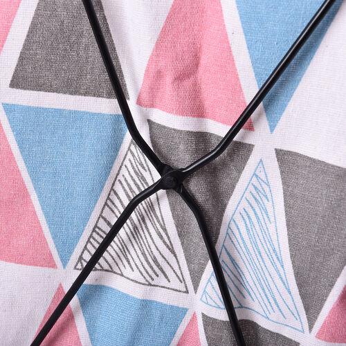 Triangular Pattern Pink and Multi Colour Folding Laundry Basket (48x36x25cm)