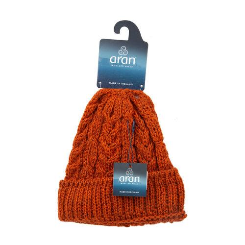ARAN 100% Pure New Wool Irish Hat in Burnt Orange Colour (One Size)