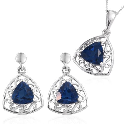 Ceylon Colour Quartz (Trl) Solitaire Pendant With Chain and Earrings in Platinum Overlay Sterling Silver 6.000 Ct.