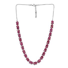 GP 38.25 Ct African Ruby and Blue Sapphire Floral Necklace in Platinum Plated Silver 18 Inch