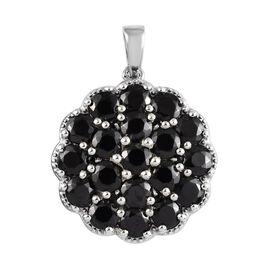 Elite Shungite (Rnd), Boi Ploi Black Spinel Cluster Pendant in Platinum Overlay Sterling Silver 3.00