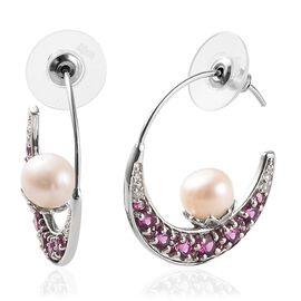 Freshwater Pearl and Multi Gemstone Hoop Earrings in Platinum Plated Silver 5.80 Grams