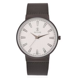 STRADA Japanese Movement Water Resistant White Colour Dial Watch with Black Strap