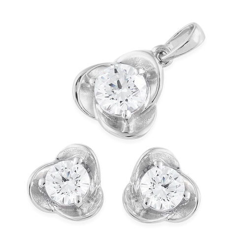 J Francis Set of 2 Platinum Overlay Sterling Silver (Rnd) Floral Pendant and Stud Earrings Made with SWAROVSKI ZIRCONIA