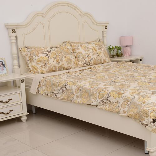 4 Pcs Cream Colour Fitted Sheet (Size 150x200 Cm), Duvet Cover (Size 225x220 Cm) and Pillow Case (Size 50x75 Cm) Cream and Multi Colour