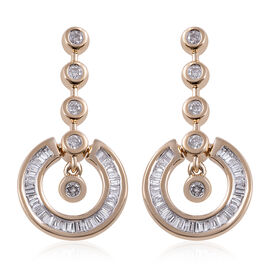 9K Yellow Gold SGL Certified Diamond (Bgt and Rnd) (G-H/I3) Distinctive Pendulum Earrings (with Push