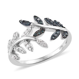 Blue and White Diamond (Rnd) Leaf Ring in Platinum Overlay Sterling Silver 0.330 Ct.