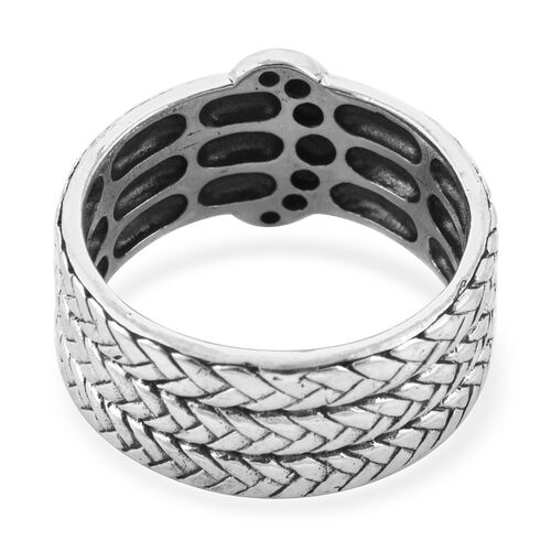 Royal Bali Collection - Sterling Silver Braided Buckle Band Ring, Silver wt 7.20 Gms