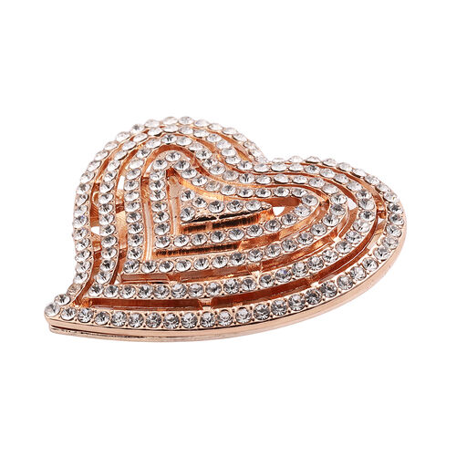 White Austrian Crystal Heart Design Brooch in Rose Gold Tone